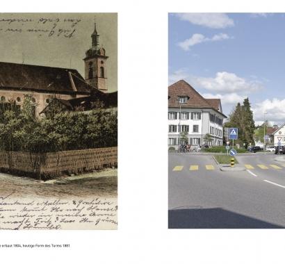 Wohlen Zeitsprünge Bildvergleich Kirchenplatz